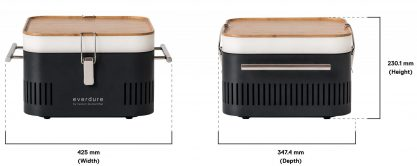 Cube graphite front and side dimensions called out